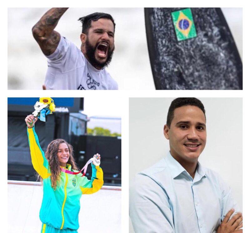 Os medalhistas olímpicos Ítalo Ferreira e Rayssa Leal; e Ytaquirate Soeiro, Gerente de Gente e Gestão da Equatorial Maranhão – Foto: Divulgação