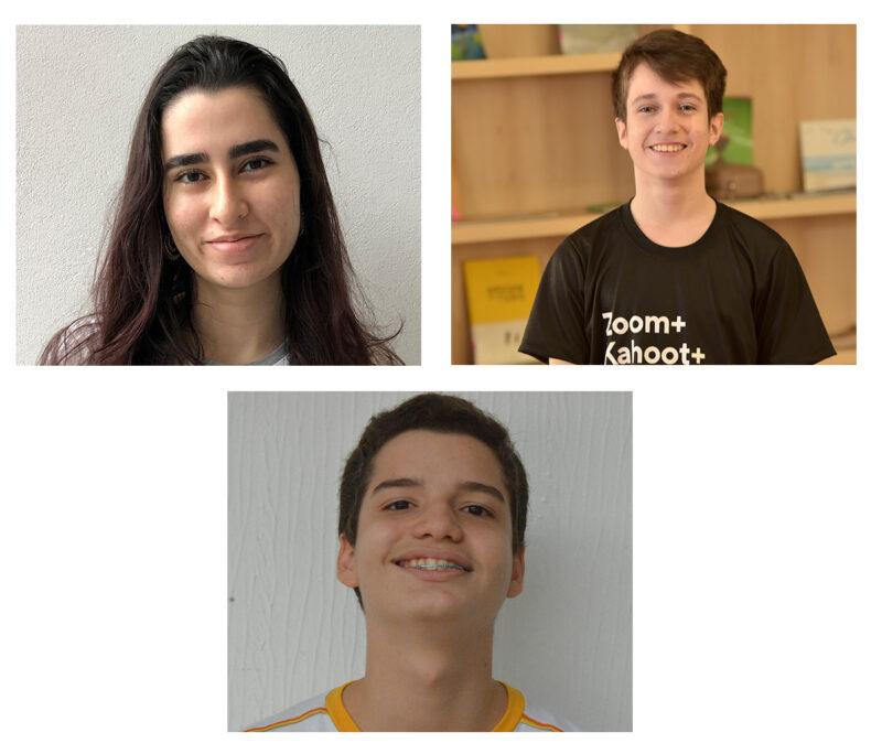 Os alunos do Dom Bosco que conquistaram medalhas na Olimpíada Brasileira de Química / OBQ: Davi Marques (ouro), Enzo Vieira (prata) e Camila Maalouf (bronze) - Foto: Divulgação