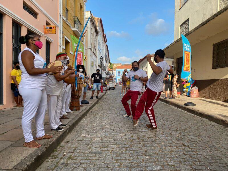 Emaranhartes teve apresentação de capoeira no Centro Histórico – Foto: Divulgação