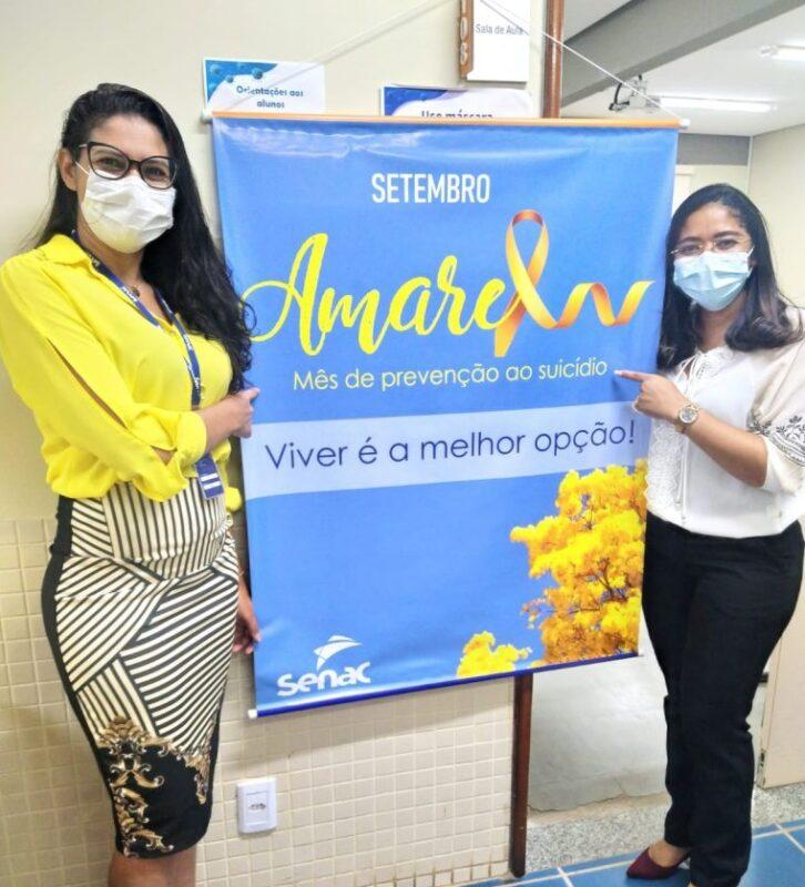 A gerente da unidade Rosivan Dias com a psicóloga Eduarda Vieira - Foto: Divulgação